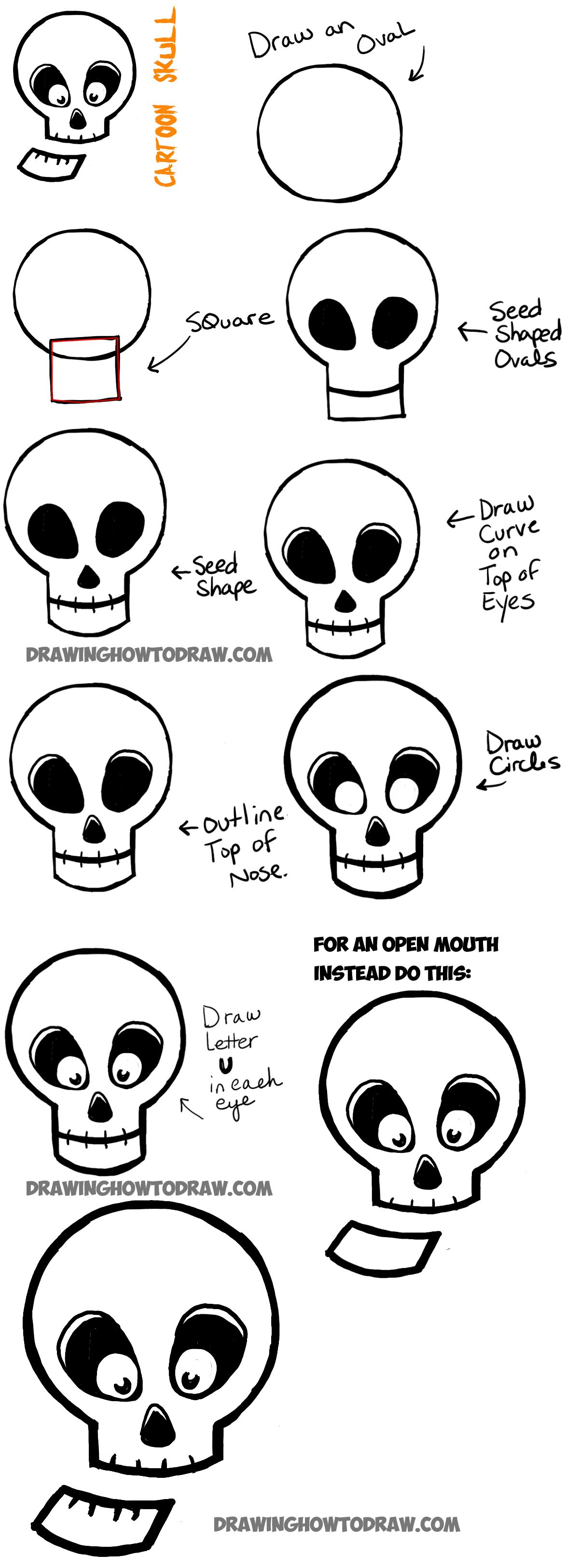 How to Draw Silly Cartoon Skulls for Halloween Easy