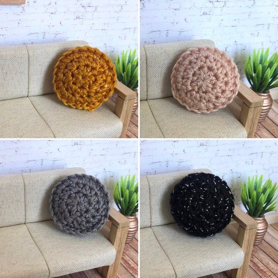 Dollhouse Round Cushion 1:12 Scale - Sparkle Yarn - Black Grey Dusty Pink Mustard - Miniature Cushions - Round Pillow - Crochet Cushion