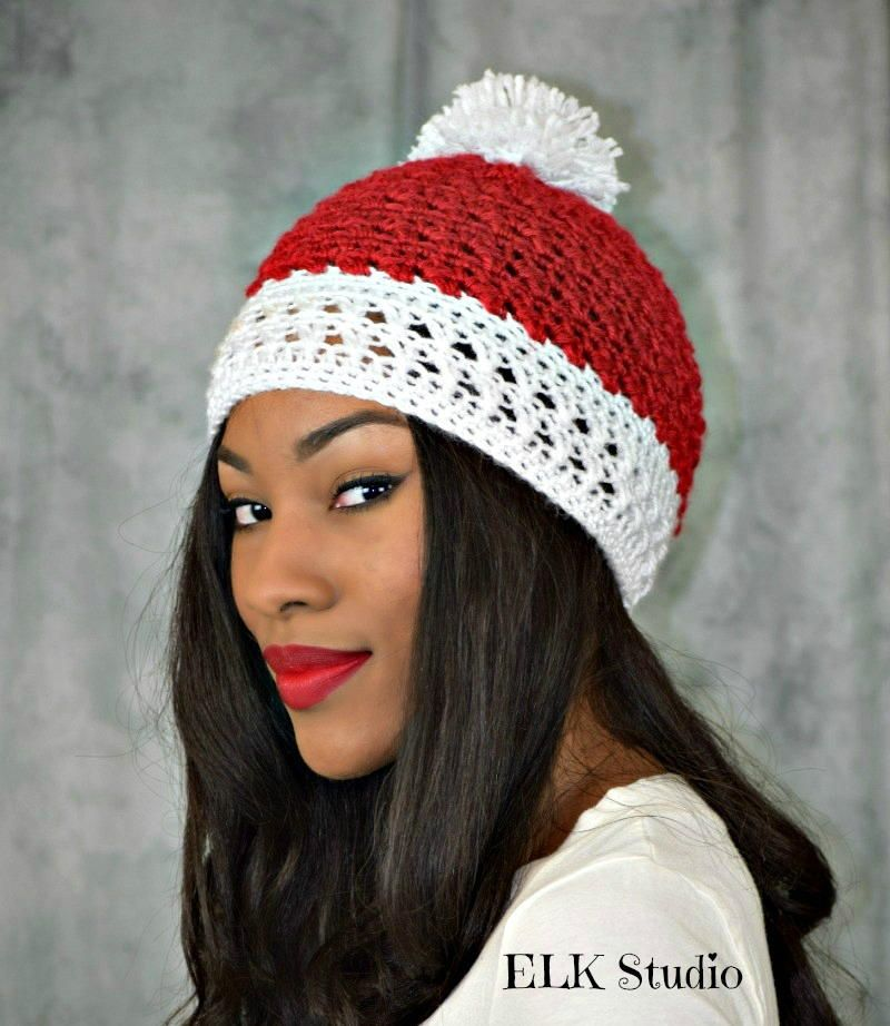 Peppermint Kisses Hat Peppermint Crochet And Christmas Hat