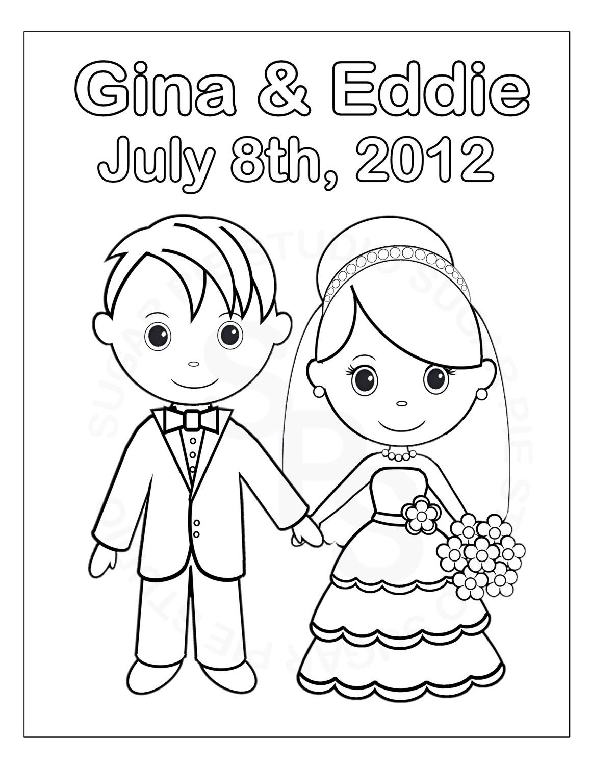 personalized printable bride groom wedding party favor childrens kids coloring page activity pdf or jpeg file - Wedding Coloring Books For Children