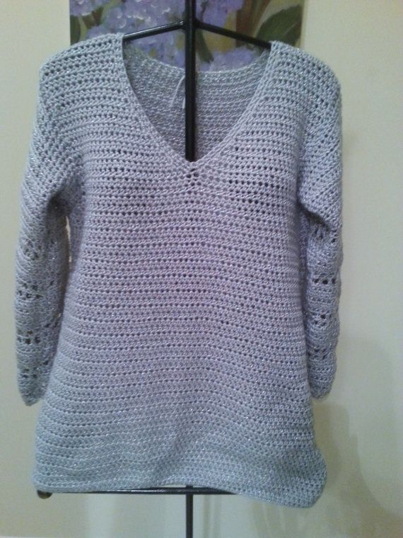 Silver Blue Long Sleeve Hand Crochet 28Tunic by sheepishnotions