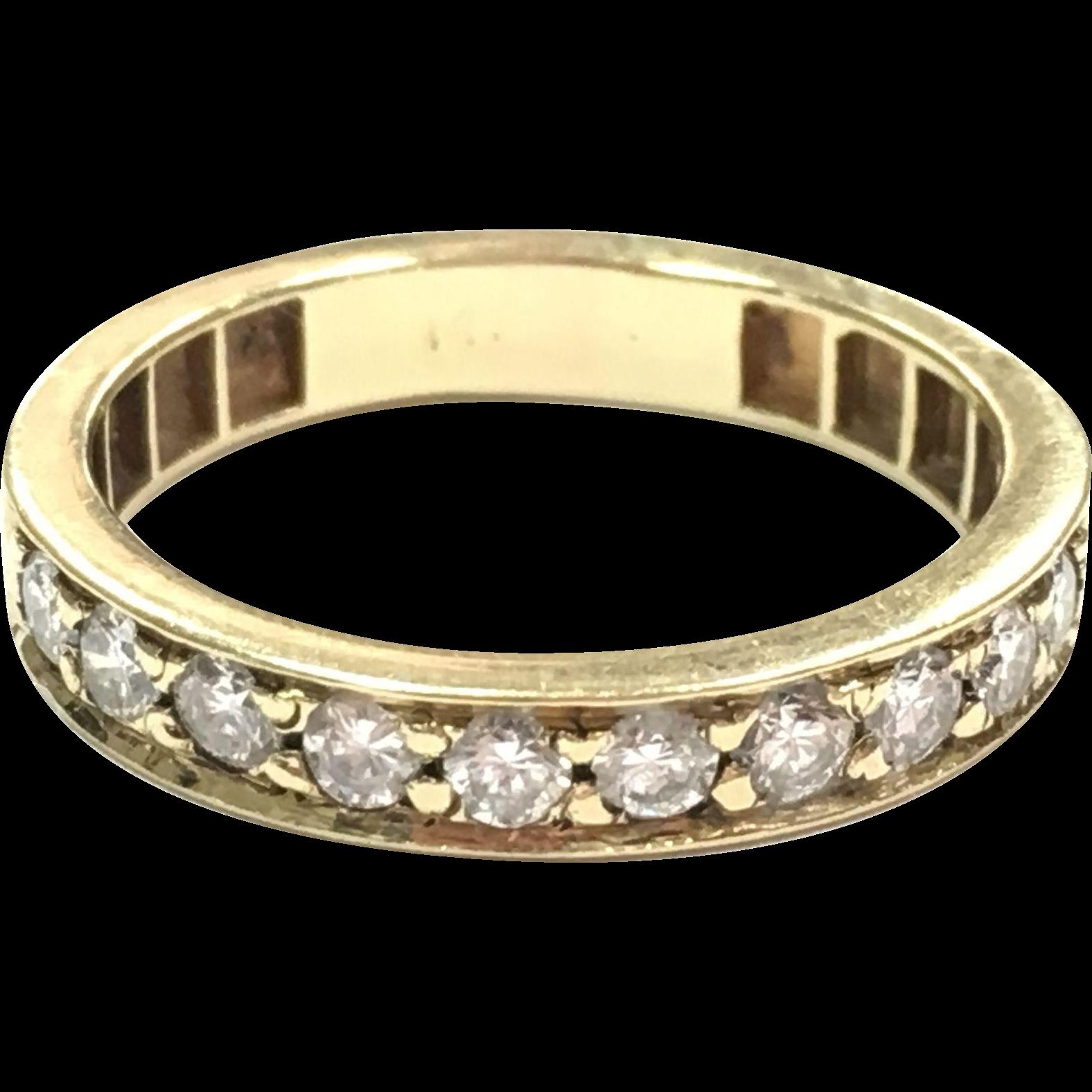 Vintage 14K yellow gold 10 diamond stacking wedding band