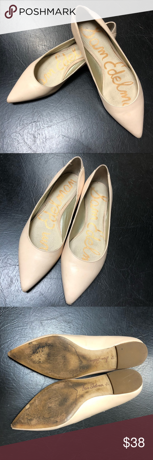 """e509b092f Sam Edelman """"Rae"""" leather nude point toe flat 7.5 Sam Edelman """"Rae"""" leather  nude point toe flats sz. 7.5 Good used condition. Shows some wear on soles  and ..."""