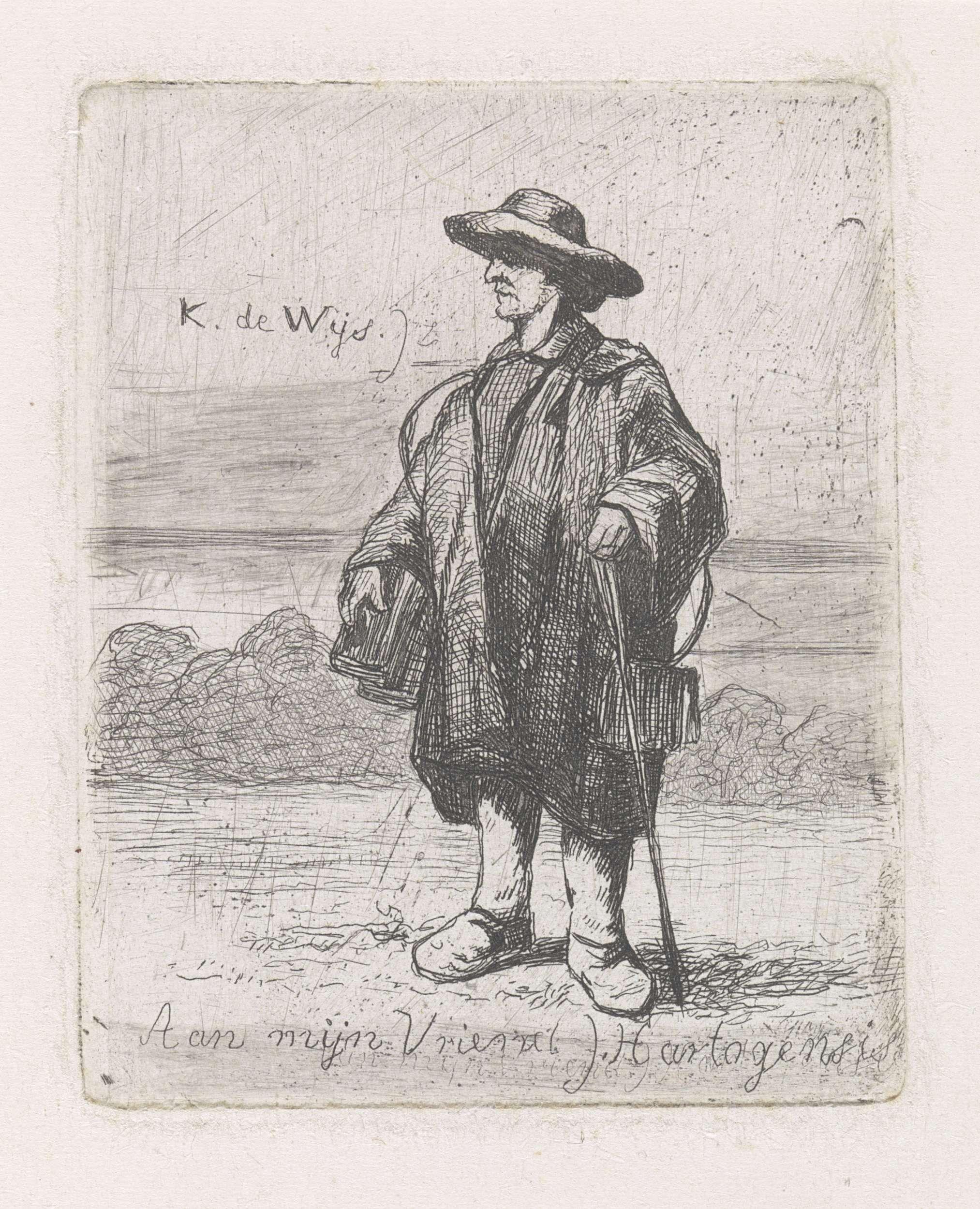 Kornelis Jzn de Wijs | Man met hoed op het hoofd en stok in de hand, Kornelis Jzn de Wijs, Joseph Hartogensis, 1842 - 1896 |
