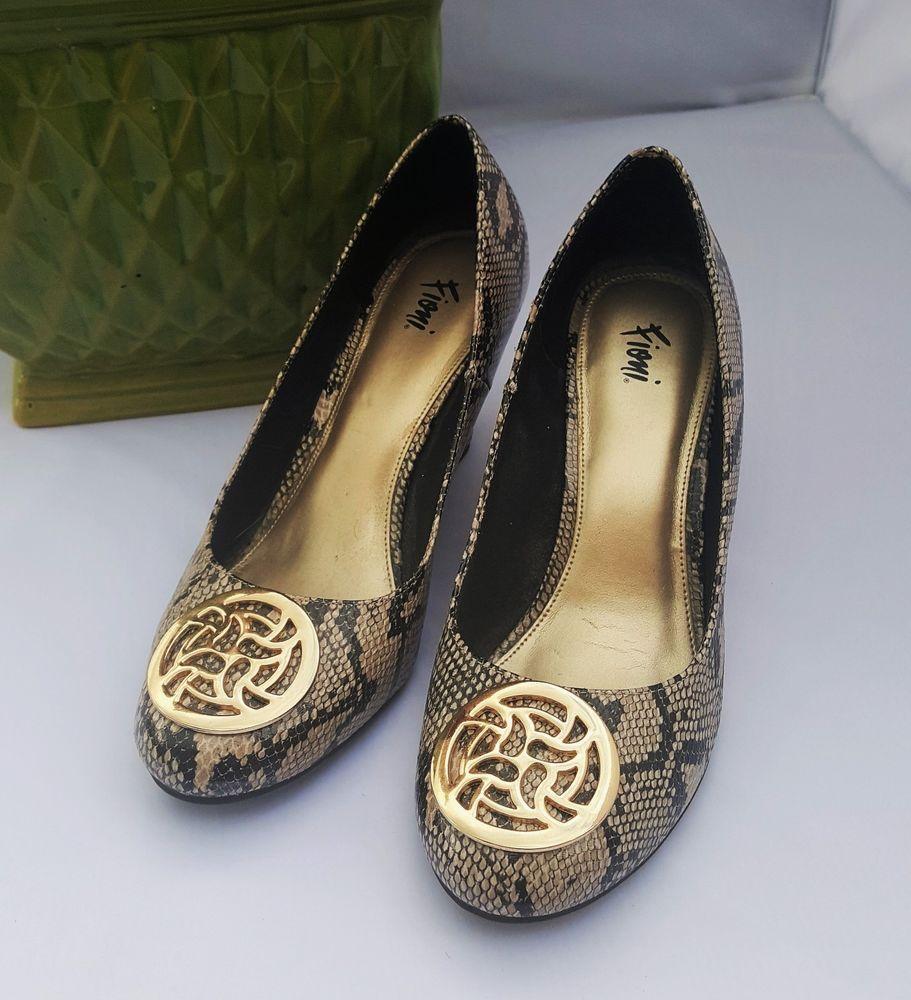 291de54e3d8 Fioni Beige Snake Skin Print Wedge Heel Dress Shoes Size 10  Fioni  Wedge