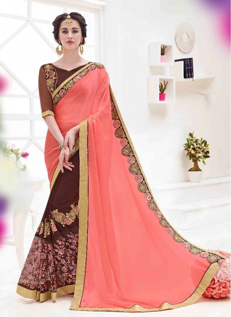 Modern half saree blouse designs chiffon peach and brown colored fancy saree  sarees  pinterest