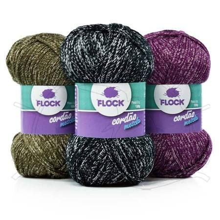 Fio Cordão Mescla Lançamento Flock Textil 2013 Composição: 75% Acrílico, 25% Poliéster Contém: 140m Fabricante: Flock Textil
