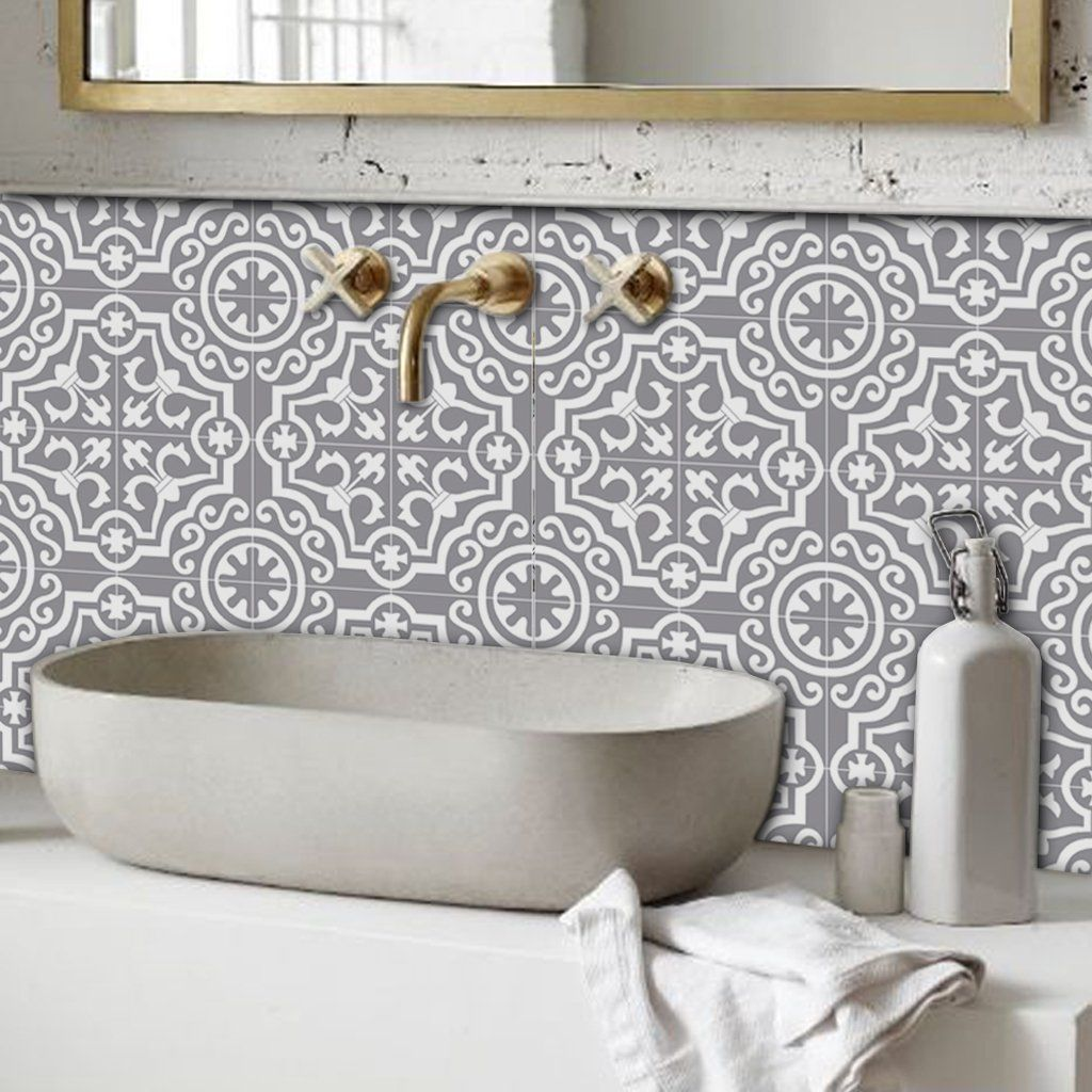 Lys In Grey Vinyl Tile Sticker Vinyl Tile Tile Bathroom