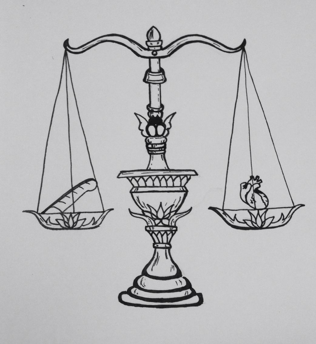 Scale Of Justice Weighing The Heart Against The Feather Of Maat
