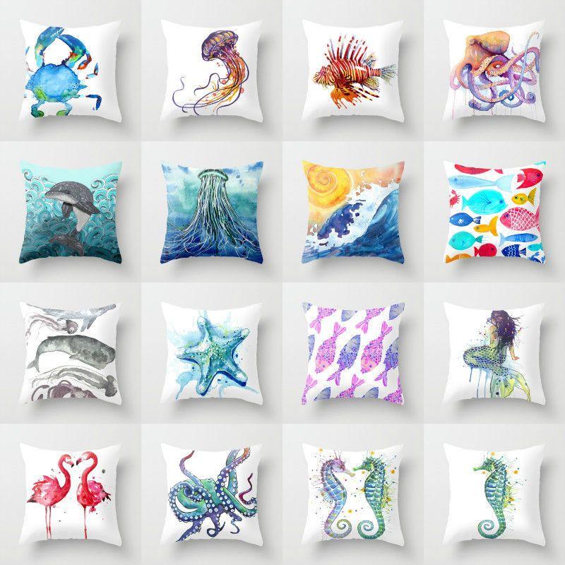 US SELLER-home  throw pillows ocean animal sea life coral cushion cover