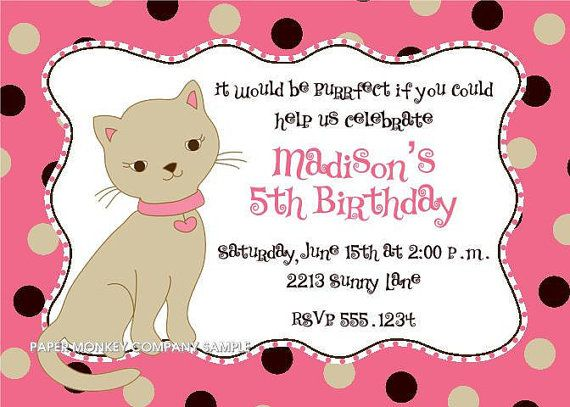 Cute Kitten Birthday Invitations Pinterest Birthdays Puppy