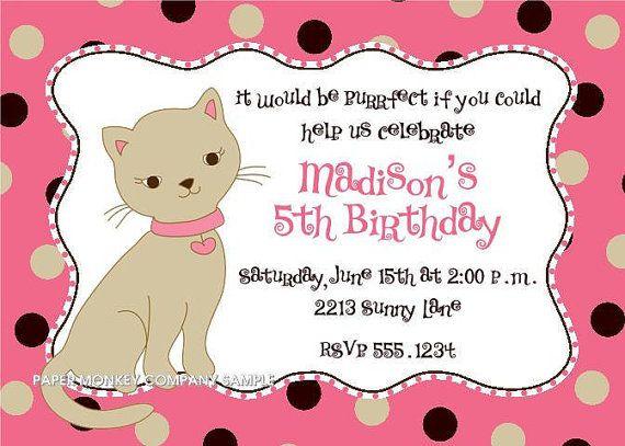 Cute Kitten Birthday Invitations   Birthdays, Puppy party and ...