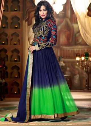 Blue And Green Long Fancy Net Shaded Anarkali Suit #salwarsuit #Bollywood  http://www.angelnx.com/Bollywood
