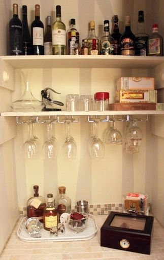 Turning A Living Room Closet Into A Mini Bar.