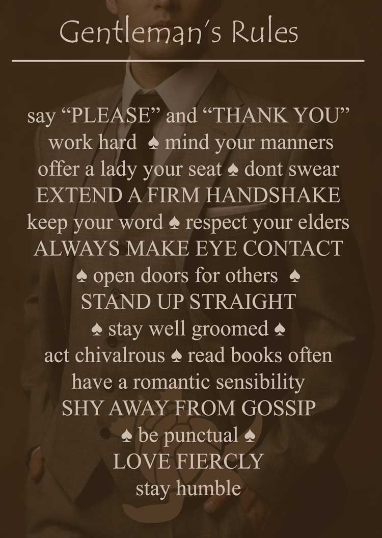 Rules of gentlemen The