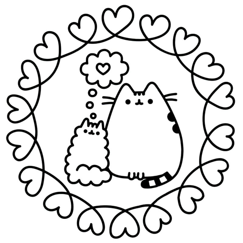 Pusheen Love coloring pages, Pusheen coloring pages, Cat