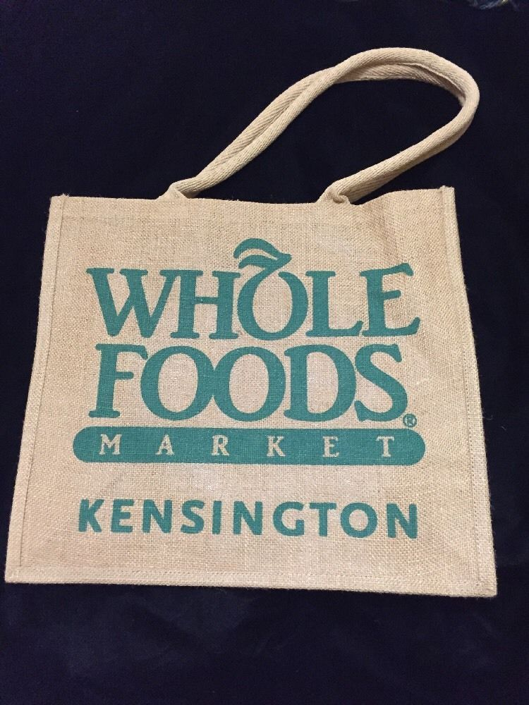 Whole Foods Kensington Tote Bag London Jute Tan Handles Burlap Recycle New Uk Wholefoods