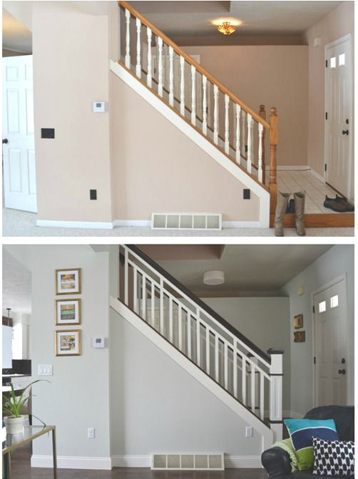 Love The Stairs When We Change It Out. Updated Stairs With Gray Paint,  White Spindles, Dark Wood Railing #stairs