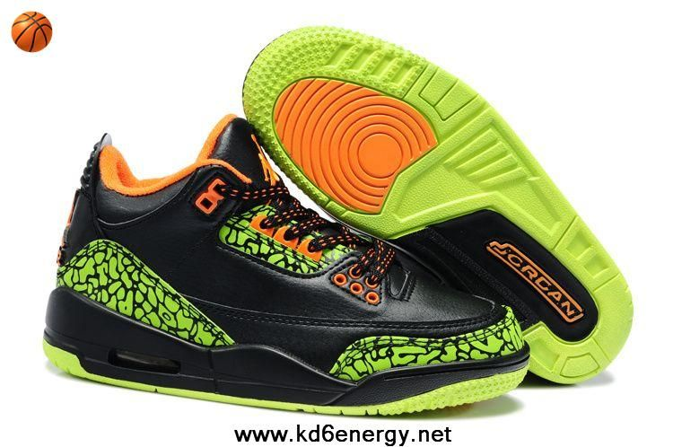 sports shoes a9651 a351a Air Jordan 3 Kids Black Green Orange