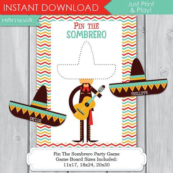 Pin The Sombero Fiesta Printable Party Game