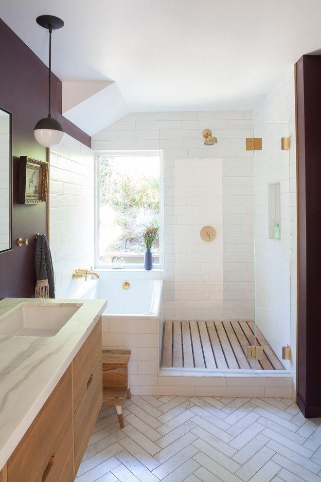 20 imposante moderne Badezimmerdesigns aus der Mitte des Jahrhunderts, in die Sie sich verlie...