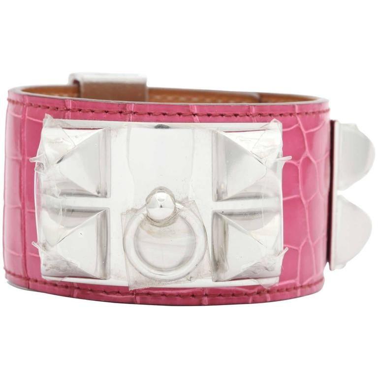 3c75648e972d6 Hermes Collier De Chien Alligator Crocodile Bangle Bracelet Fuchsia Pink