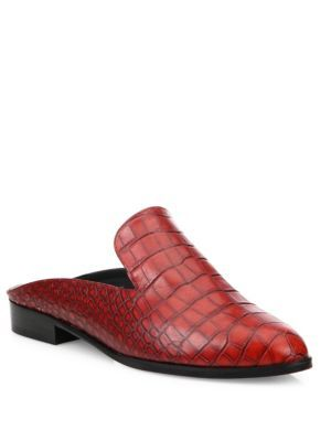 ROBERT CLERGERIE Alicem Croc-Embossed Leather Mules. #robertclergerie #shoes  #sandals