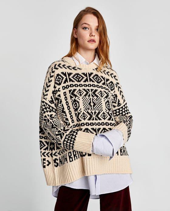 Round Neck Jacquard Sweater. ZARA.  44a2c81a1cf9