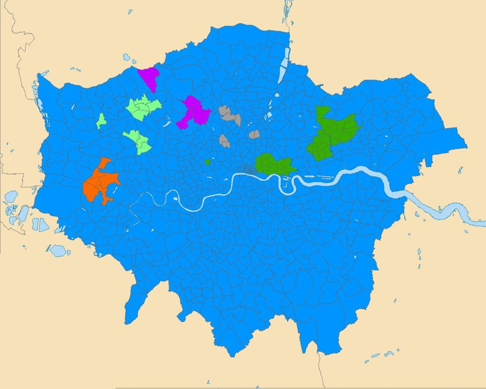 Map Of London By Religion Blue Christianity Green Islam Light - Christianity map