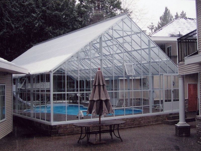 Cottage Glass Greenhouse Indoor Outdoor Pool Pool Enclosures Cool Swimming Pools