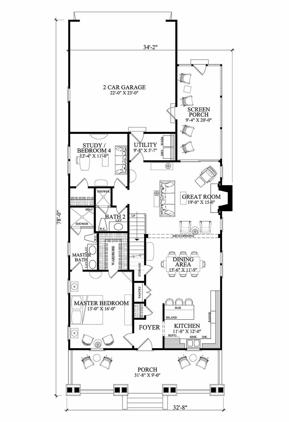 Craftsman Style House Plan - 4 Beds 3 Baths 1928 Sq/Ft Plan #137-284 ...