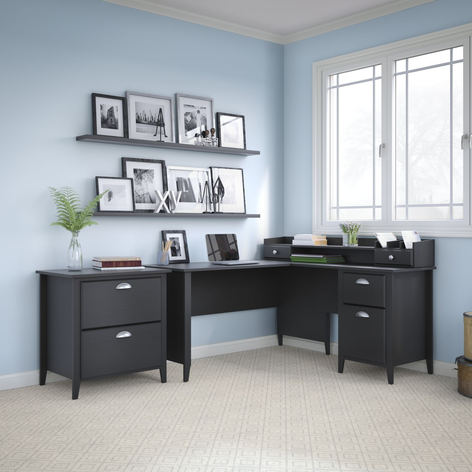 Kathy Ireland Office By Bush Furniture Connecticut 60W L Desk, Organizer  And Lateral File