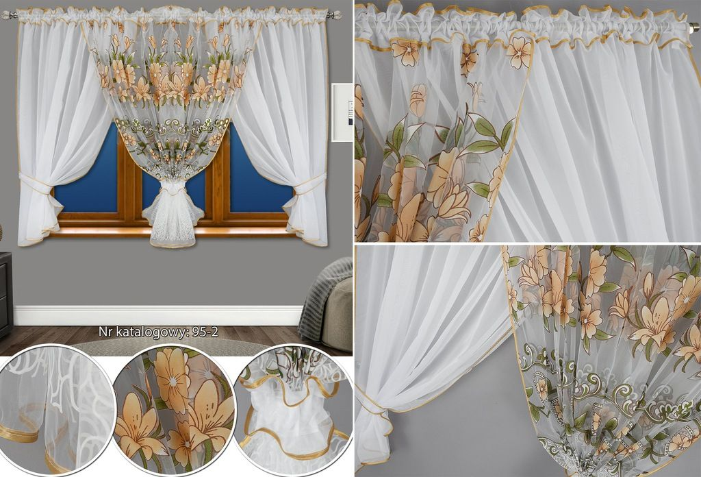 Firana Gotowa Woal W Kwiaty 500x150 Firany Zasłony Rzeczy