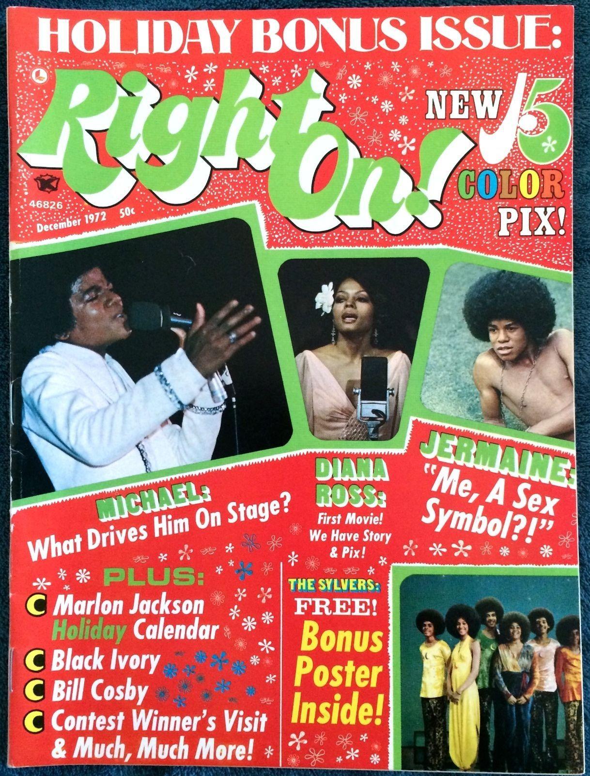 1972 Right on Magazine Sylvers Michael Jackson Jackson 5
