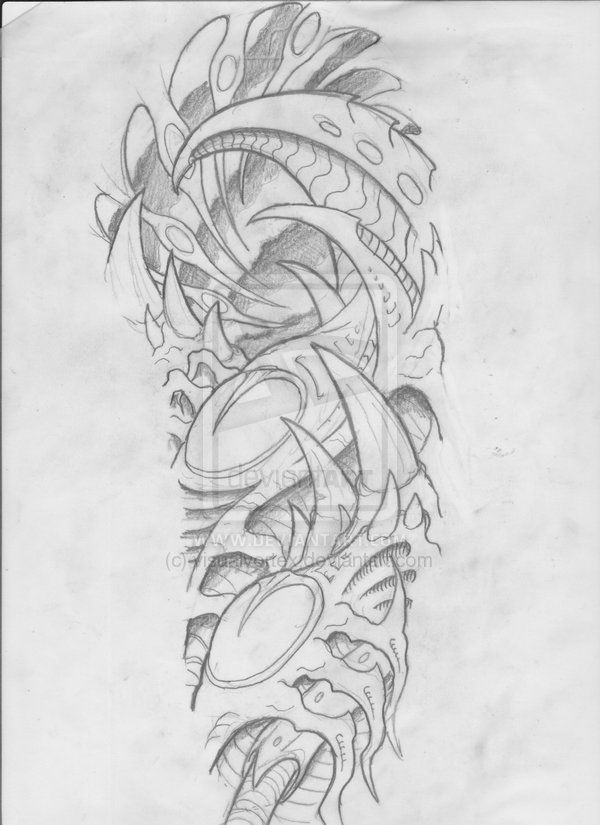 Pencil Tattoo Outlines Biomechanical Drawings