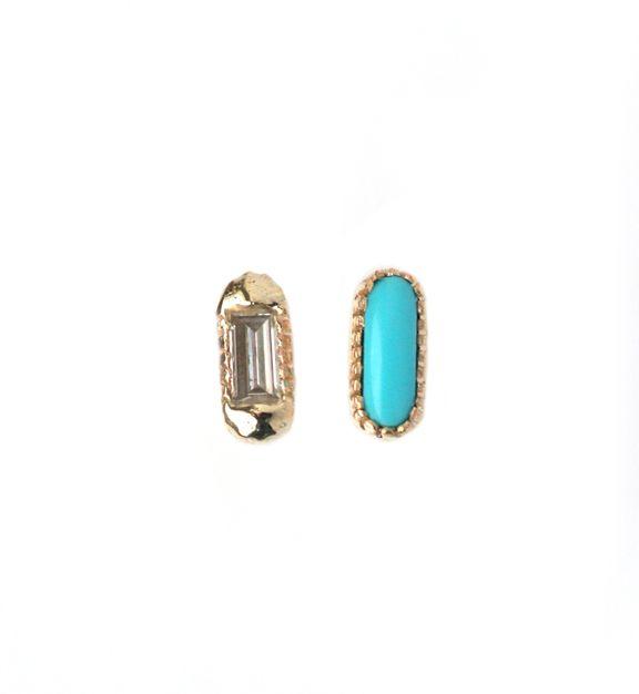 mociun >> mismatched oblong turquoise & diamond studs