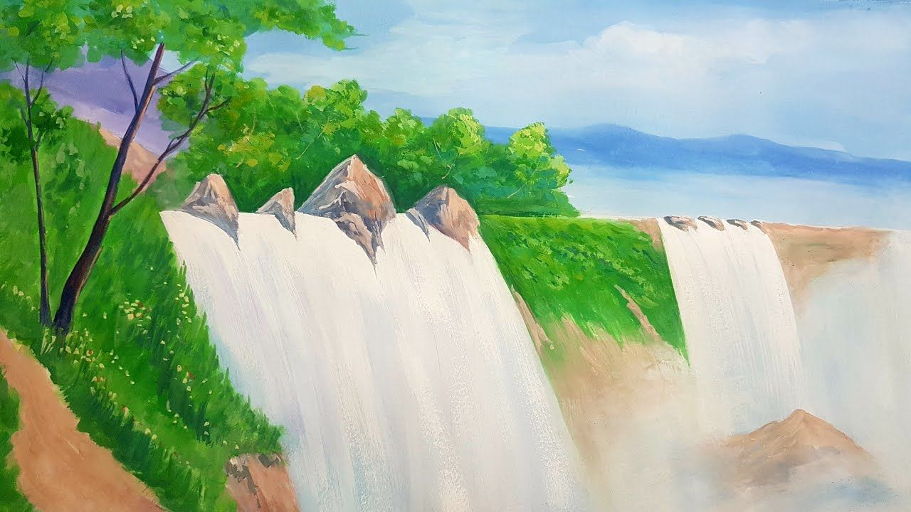 Poster Colour Painting Of Water Fall Art Canvas Waterfall Scenery Poster Color Painting Water Painting