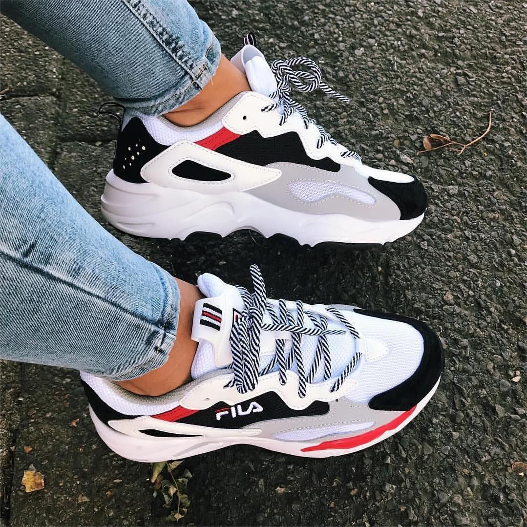 The new Fila Ray Tracer sneakers in a white, black, grey and