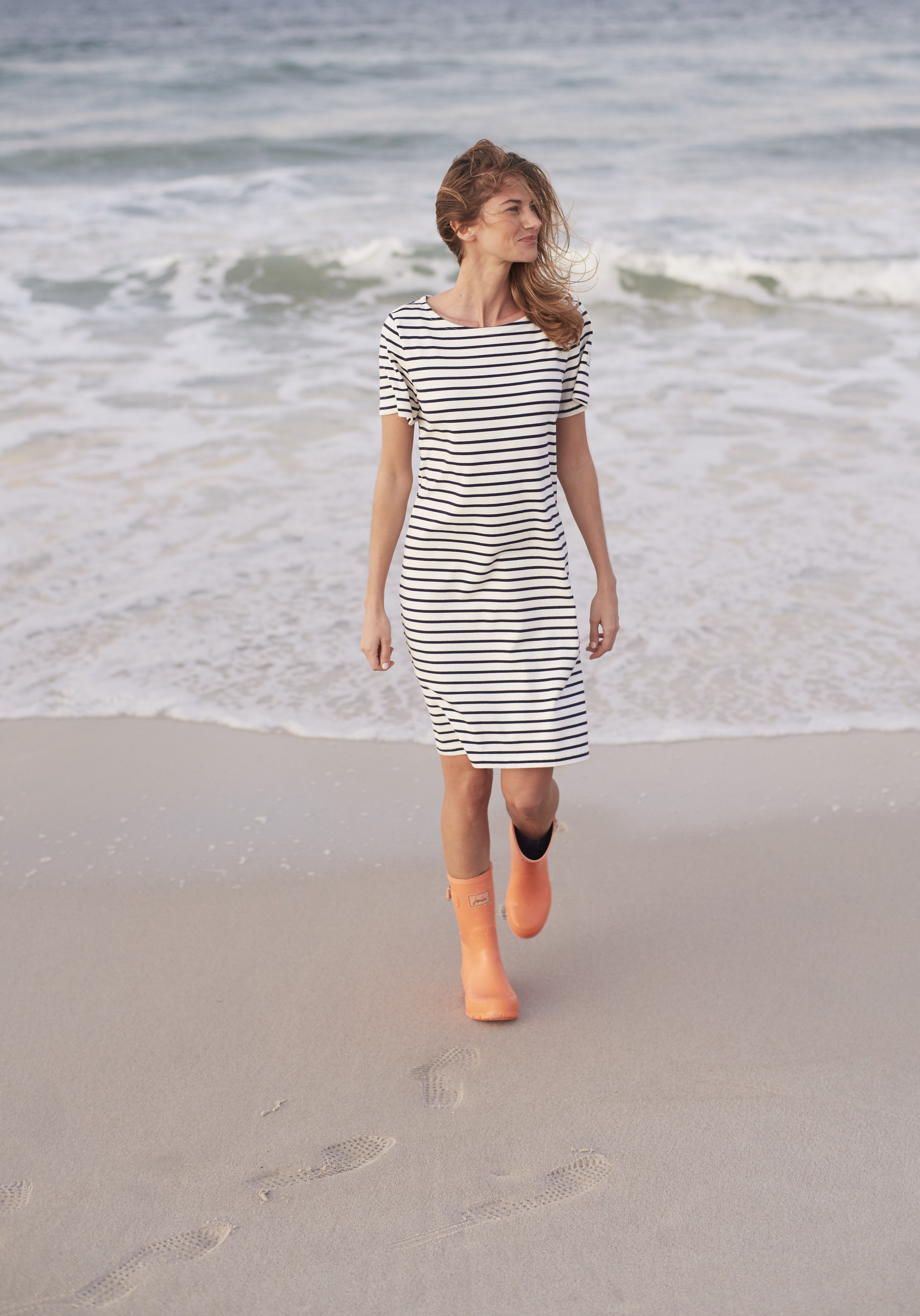 Riviera Jersey T Shirt Dress In Creme Stripe Summer