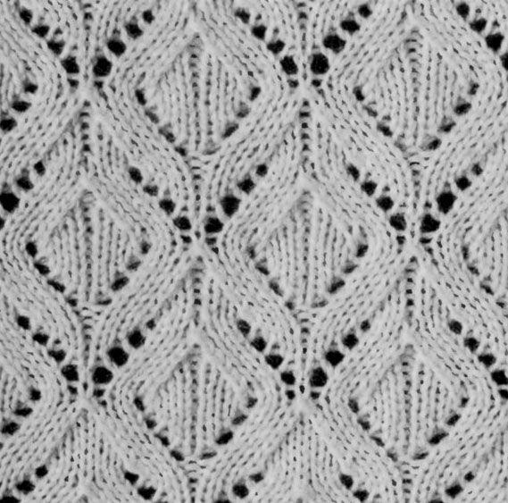 Gorgeous diamond lace knitting stitch pattern.
