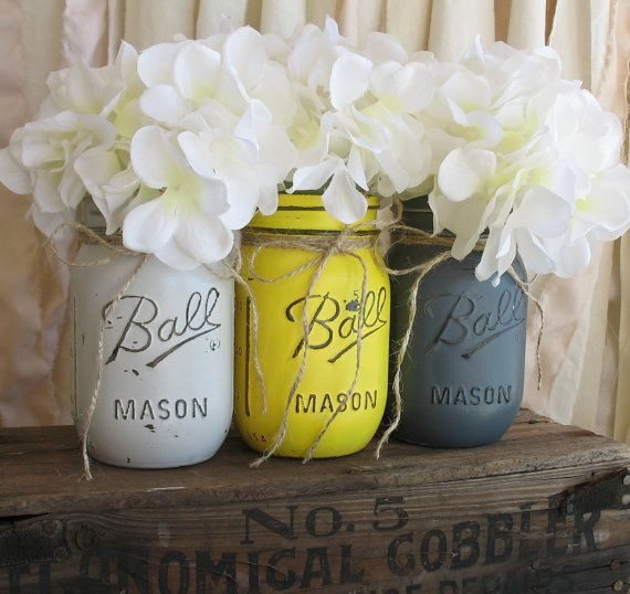 Set Of 3 Pint Mason Jars, Painted Mason Jars, Yellow and Gray Mason