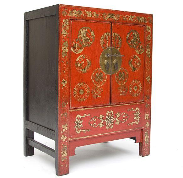 Aparador chino rojo motivos dorados pinteres for Muebles japoneses antiguos