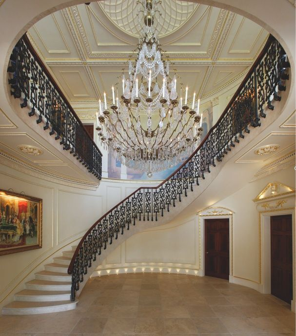 Superior Luxury Staircase #7: Was The Staircase Built Around The Chandalier Or The Chandalier Made For  The Staircase? Hmm