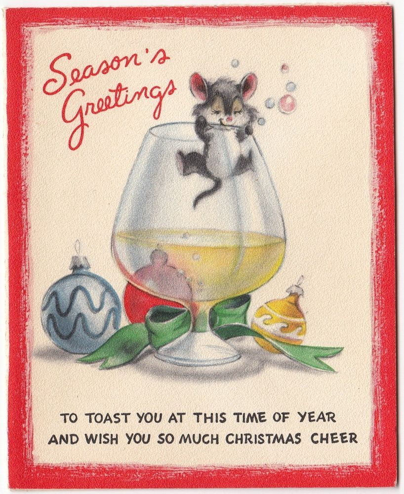 Vintage greeting card christmas drunk mouse christmas vintage vintage greeting card christmas drunk mouse kristyandbryce Image collections
