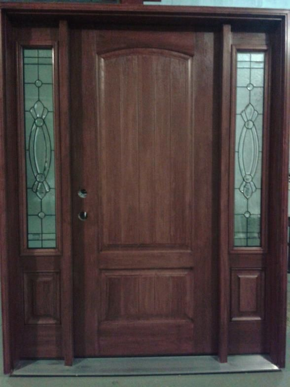 Pre Stained Fibergl Entrance Door With Two Sidelites 3 4 Length Decorative Gl