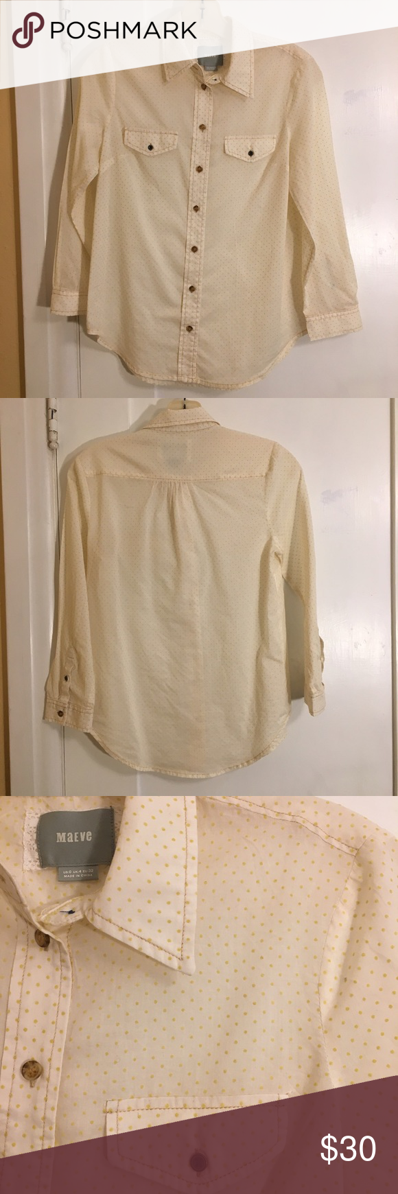 Anthropologie Maeve Yellow Polka Dot Top Yellow polka dot button down top with two front pockets. Size 0. In great condition. Anthropologie Tops