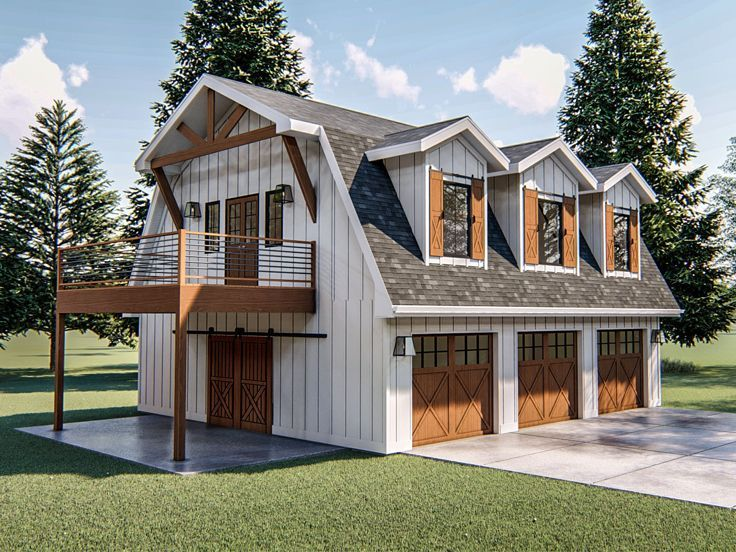 050g 0094 Carriage House Plan With Workshop 2 Car Garage Gambrel Roof Carriage House Plans Barn Style House Garage Apartment Floor Plans