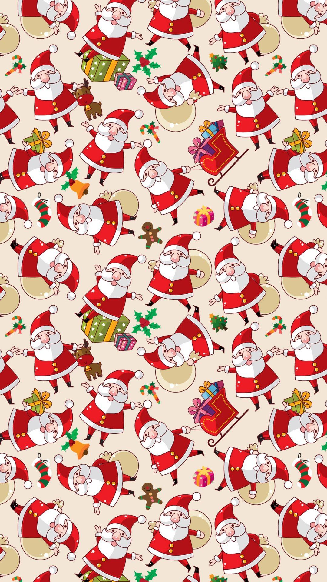 Sfondi Natalizi Iohone 6.Santa Claus Pattern Texture Background Iphone 6 Wallpaper Babbo