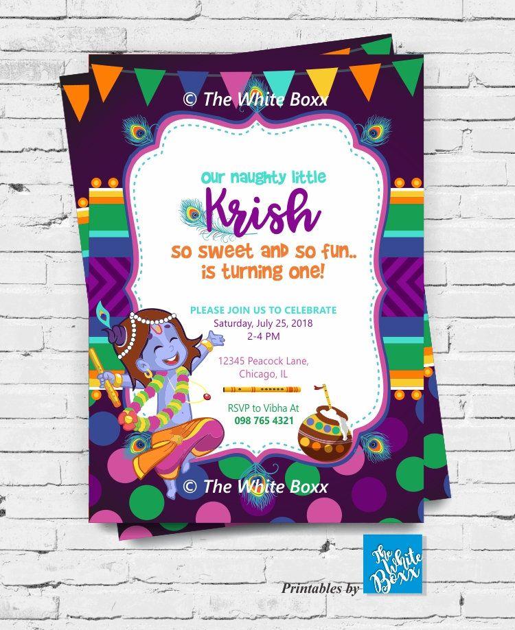 Krishna Hindu God Themed Birthday Invite Invitation Card