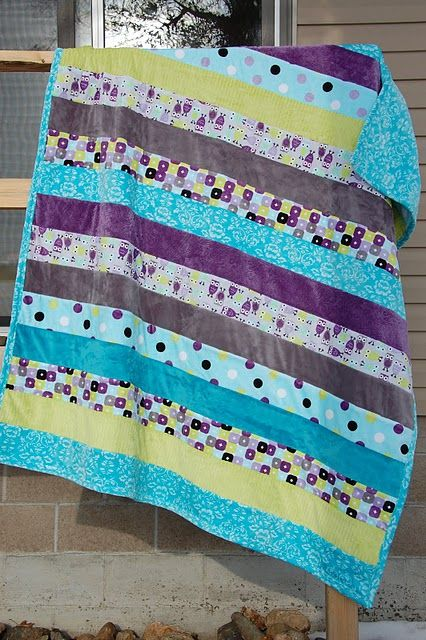 MINKY strip quilt - quilt as you go - free pattern at link